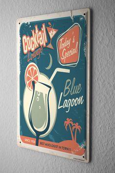 Tin Sign Bar Party Blue Lagoon
