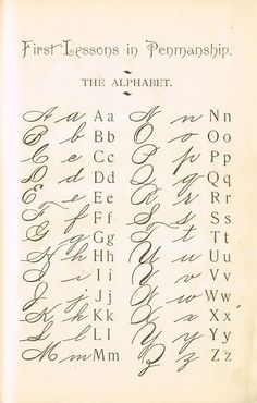 1895 School Primer Penmanship Page with cursive alphabet Typography Alphabet, Tattoo Lettering Alphabet, Tattoo Fonts Cursive, Calligraphy Letters, How To Learn Calligraphy, Handwritten Letters, Copperplate Calligraphy, Bullet Journal, Words