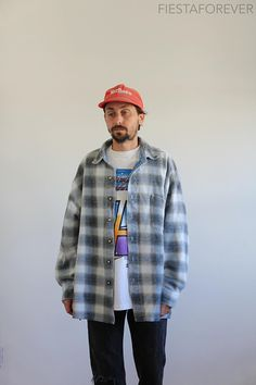 90s Structure Faded Shadow Plaid Fishtail Button Up XL