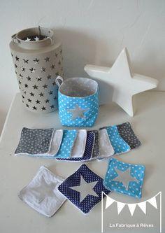 Sur commande - Pochon et ses 12 lingettes lavables - bleu marine turquoise blanc argenté étoiles : Puériculture par la-fabrique-a-reves
