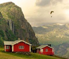 View on the Hydnefossen Waterfall in Hemsedal, Norway