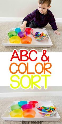 Looking for an easy learning activity? Check out this ABC Color Sort using alphabet magnets. A fun way to expose toddlers to letters from Busy Toddler. Color Sorting For Toddlers, Toddler Color Learning, Colors For Toddlers, Toddler Fun, Learning Colors, Kids Learning, Teaching Toddlers Abc, Early Learning Activities, Childcare Activities