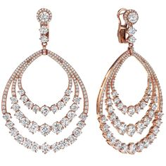 Diamond Gold Dangle Earrings-F color clarity conflict free diamonds graduating from each stone down. Also available in white gold or yellow gold. Rose Gold Jewelry, Fine Jewelry, Gold Jewellery, Diamond Jewelry, Diamond Earrings Indian, Gem Diamonds, White Diamonds, Diamond Studs, Beautiful Earrings