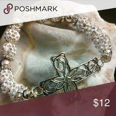 Silver and white Rhinestone Pave Bracelet Celtic Lace Cross Bracelet Honeylambjewelry.com Jewelry Bracelets