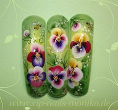 Pansy, One Stroke - Painting by vipnailsmonika from Nail Art Gallery