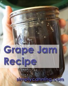 Home canning grape jam recipe is easy. Not jelly,but just as good. www.simplycanning...