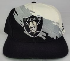c971f6ea042 LA Oakland Raiders Vintage Snapback Logo Athletic Splash Hat NFL Pro Line  Cap Nfl Pro