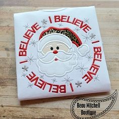 Santa Believe Circle Applique - 4 Sizes!   What's New   Machine Embroidery Designs   SWAKembroidery.com Beau Mitchell Boutique