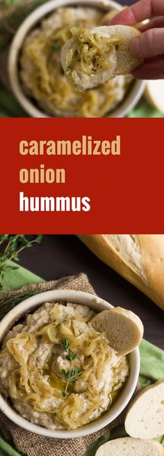 White beans are blended with caramelized and wine simmered onions to make this super rich and creamy savory hummus.