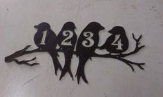 Perched Birds House Number Address Metal SignFor 5 or 3 by Tibi291