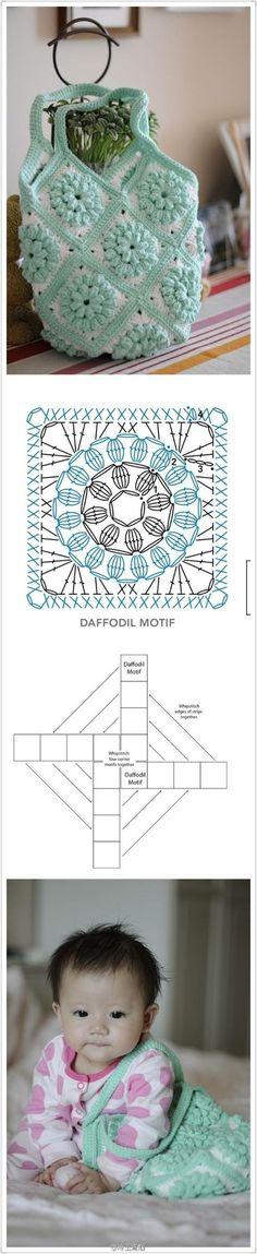 Crochet : Granny Bag - Chart ❥ ༺✿ƬⱤღ http://www.pinterest.com/teretegui/✿༻: