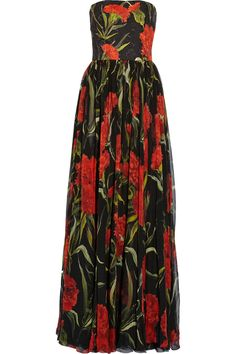 Black, red and green brocade and chiffon Concealed hook and zip fastening at back 65% silk, 21% cotton, 14% viscose; lining: 94% silk, 6% elastane Dry clean