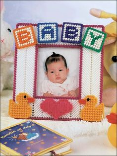 Plastic Canvas - Patterns for Children & Babies - Gift Patterns - Baby's First Frame Plastic Canvas Ornaments, Plastic Canvas Christmas, Plastic Canvas Crafts, Canvas Picture Frames, Canvas Frame, Plastic Canvas Stitches, Plastic Canvas Patterns, Pc Photo, Baby Canvas