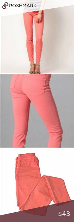 """Plus Size Premium Cotton Blend Stretch Denim Style Jeggings /""""CORAL/"""" COLOR J-04"""