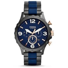 Fossil Nate Chronograph Black &Amp; Blue Stainless Steel Watch ($165) ❤ liked on Polyvore featuring men's fashion, men's jewelry, men's watches, mens chronograph watches, men's blue dial watches, mens stainless steel watches, mens blue watches and fossil mens watches