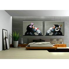 Hand-Painted Art Wall Monkey Sitting Room Adornment Oil Painting on Canvas Without Frame 2017 - Hand Painting Art, Online Painting, Oil Painting On Canvas, Paintings Online, Cool Paintings, Animal Paintings, Pop Art, Modern Canvas Art, Traditional Paintings