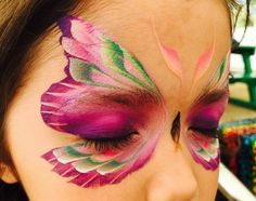 Pink Butterfly/Fairy Mask Face painting with 2 split cakes and a flat brush