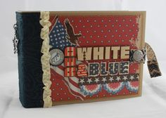 """Monkeydreamz: Tales of a Paper Addict: 8""""x6"""" Red White and Blue Mini-Album"""