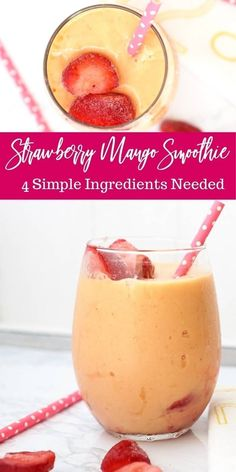 Easy Strawberry Mango Smoothie that requires just 4 ingredients Frozen fruit smoothies allow for a creamier and thicker texture smoothie recipe realfruit yogurt easy mangosmoothie Frozen Fruit Smoothie, Smoothie Recipes With Yogurt, Smoothie Recipes For Kids, Yogurt Smoothies, Good Smoothies, Mango Smoothie Healthy, Smoothie Detox, Strawberry Mango Smoothie Recipe Without Yogurt, Smoothie Bowl