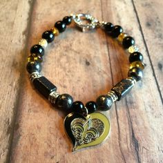 New Orleans Saints Black and Gold  Beaded Bracelet by DungleBees, $24.99