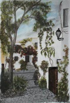 oil on paper. Bulgarian dwellings