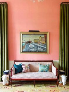 Warm colors can infect us. Coral orange is full of lively and positive signals. Because coral orange itself has high saturation, so in the interior design, with Peach Living Rooms, Living Room Decor, English Living Rooms, Coral Walls, Peach Walls, Pink Room, Coral Room Decor, Coral Bedroom, Fashion Room