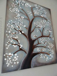 White Cherry Blossom Tree Painting - Crafts by Amanda Diy Wall Art, Diy Art, White Cherry Blossom, Cherry Blossoms, Cherry Tree, Christmas Paintings On Canvas, Tree Paintings, Step By Step Painting, Painting Steps