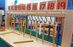 """Teen Frame! A horizontal version of the Seguin Board. It's all about building quantities. """"Ten and nine make nineteen."""" Another excellent, hands-on learning Montessori Math material."""