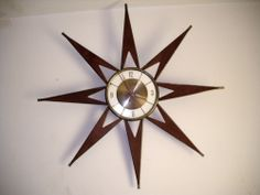 Need a starburst clock like this. Mid Century Decor, Clocks, Teak, Brass, Inspire, Spaces, Living Room, Wall, Inspiration