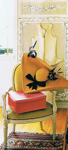 Herve Pierre's design of the tricornered straw hat sans birds. Provence Interior, Herve, Silk Taffeta, Black Gloves, Mellow Yellow, Color Yellow, Decoration, Spring, Creations