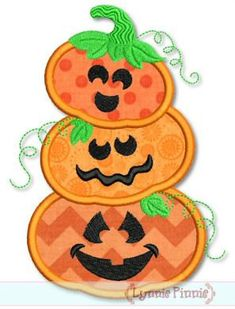 PUMPKIN STACK Applique 4x4 5x7 6x10 svg  Machine Embroidery Design Fall INSTANT Download