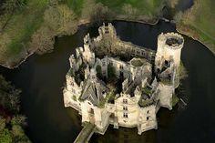 France, Poitou-Charentes region - Château de la Mothe-Chandeniers. great aerial view.