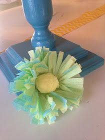 Crepe paper flowers, yellow and turqoise bridal shower Streamer Flowers, Crepe Paper Streamers, Crepe Paper Flowers, Rose Crafts, Flower Crafts, Holidays And Events, Party Gifts, Bridal Shower, Diy Ideas