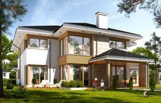 Dom z widokiem 4 Beautiful House Plans, Beautiful Homes, Modern Exterior, Exterior Design, Villas, Frank Lloyd Wright Homes, Bungalow House Design, Display Homes, Facade House
