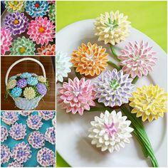 Marshmallow Flowers- a cute and creative way to serve cupcakes. Perfect for birthday parties, baby showers and engagement parties