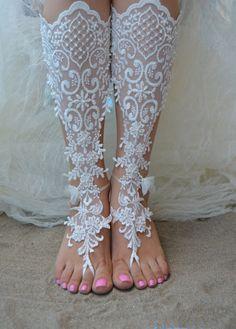 Original Design Free Ship wedding barefoot sandals Beach, bridal sandals, lace sandals, wedding bridal, ivory accessories, barefoot sandals
