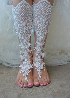 Original Design Free Ship wedding barefoot sandals Beach, bridal sandals, lace sandals, wedding bridal, ivory accessories, barefoot sandals