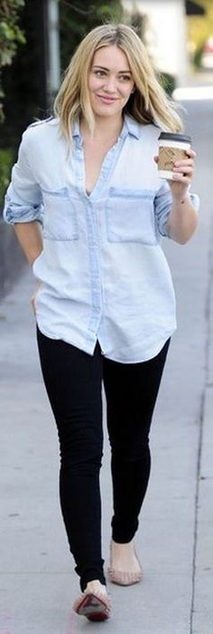 Who made  Hillary Duff's blue denim shirt and nude studded ballet flat shoes?