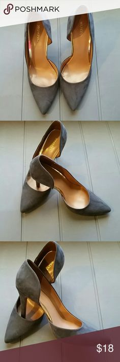 """Merona Gray Suede Heels EUC -  These shoes have almost a 4"""" heel.  They are very stylish with gold that trims inner lining which can be seen at side opening of shoe.  They are a charcoal gray color. Merona Shoes Heels"""