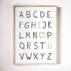 Alphabet printable wall art I love you, I love you abc black and white, scandinavian ABC print, i love you letters I Love You Lettering, Sites Like Etsy, Personalised Photo Cards, Alphabet Wall Art, Craft Sites, Craft Markets, Art Wall Kids, My Images, Printable Wall Art