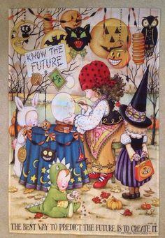 Mary Engelbreit Halloween Flag KNOW THE FURTURE, GUC #MaryEngelbreit