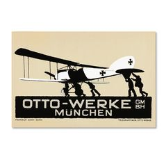 'Airplane Art Deco Munich' Graphic Art Print on Wrapped Canvas