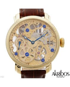 Brand New AKRIBOS XXIV Stainless Steel and Leather Watch  Men #Jewelry