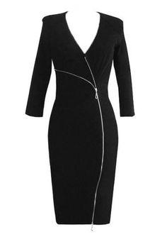 Black Oblique Zipper Sheath Dress