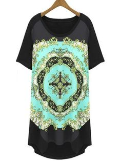 Cotton Loose Fitting Patchwork Printed Long Plus Size T-shirt Plus Size Tops from Fashionmia.com