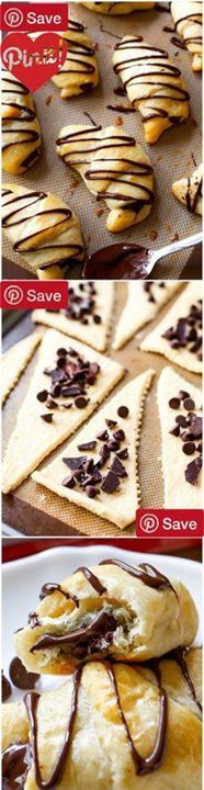 #MUST_SAVE DIY 20 Minute Chocolate Crescents - Ingredients Refrigerated 1 Egg large Baking & Spices 1 1 cup semi-sweet chocolate chips or chopped pure chocolate tsp Shortening Bread & Baked Goods 1 can Pillsbury crescent dinner rolls refrigerated #delicious #diy #Easy #food #love #recipe #recipes #tutorial #yummy @Mommas Kitchen - Make sure to follow cause we post alot of food recipes and DIY we post Food and drinks gifts animals and pets and sometimes art and of course Diy and crafts films…