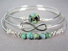 Silver Infinity and African Turquoise Bracelet Set by Bauble Vine $39.95