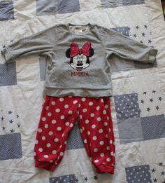 H&M Disney Minnie Mouse Nicki-Schlafanzug in Gr. 86/92! Pink! Weiße Punkte!