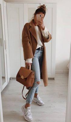 Trendy Ideas For Womens Fashion Casual Fall Outfits Camel Coat Casual Fall Outfits, Simple Outfits, Spring Outfits, Winter Outfits, Casual Winter, Long Sleeves Outfits Casual, Denim Outfits, Fashion Mode, Look Fashion