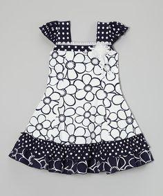 Look what I found on #zulily! Black & White Daisy Puff-Sleeve Dress - Toddler & Girls #zulilyfinds